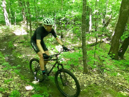 Twin Lakes singletrack, June 2nd, 2017. The woods are as lush as ever and the sensation of riding in the forest is like riding through a green tunnel.