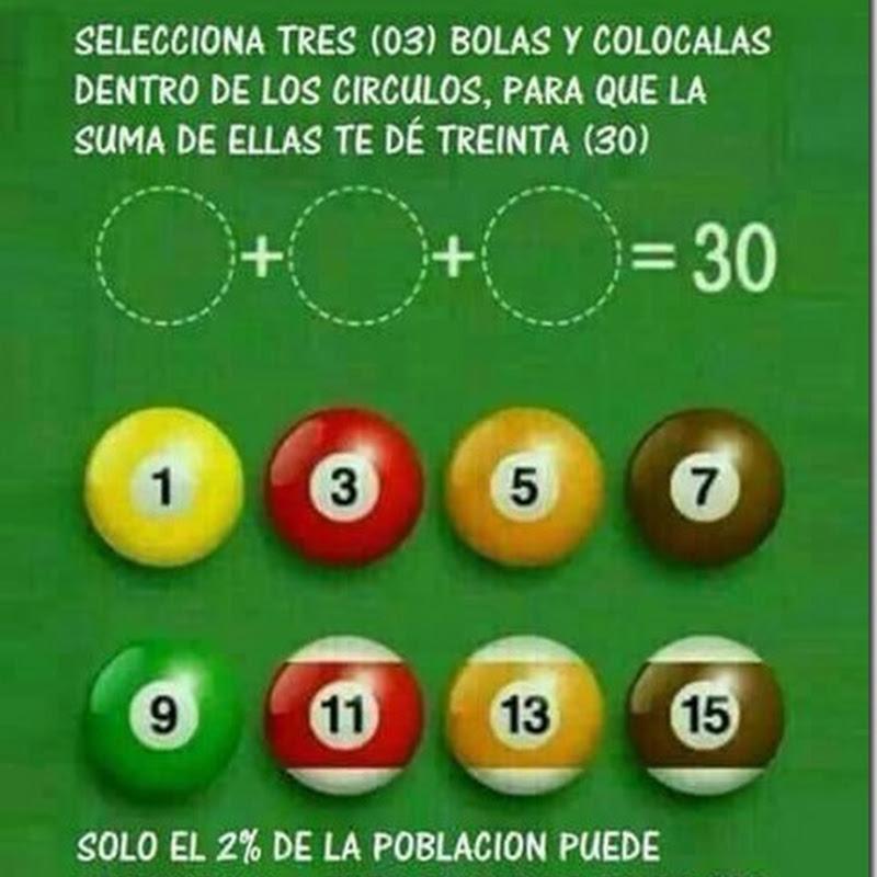 Bolas de billar que suman 30 con solución