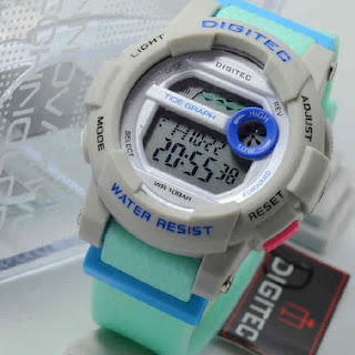 Jam Tangan Digitec DG2074 4lady softgreen rubber grey Original.