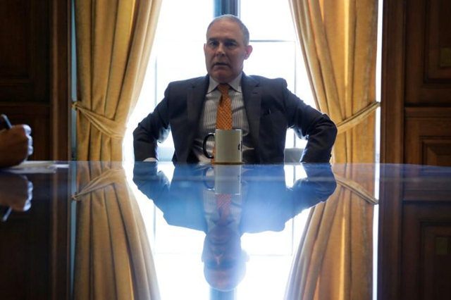 Environmental Protection Agency Administrator Scott Pruitt speaks during an interview for Reuters at his office in Washington, U.S., 10 July 2017. Yuri Gripas / REUTERS