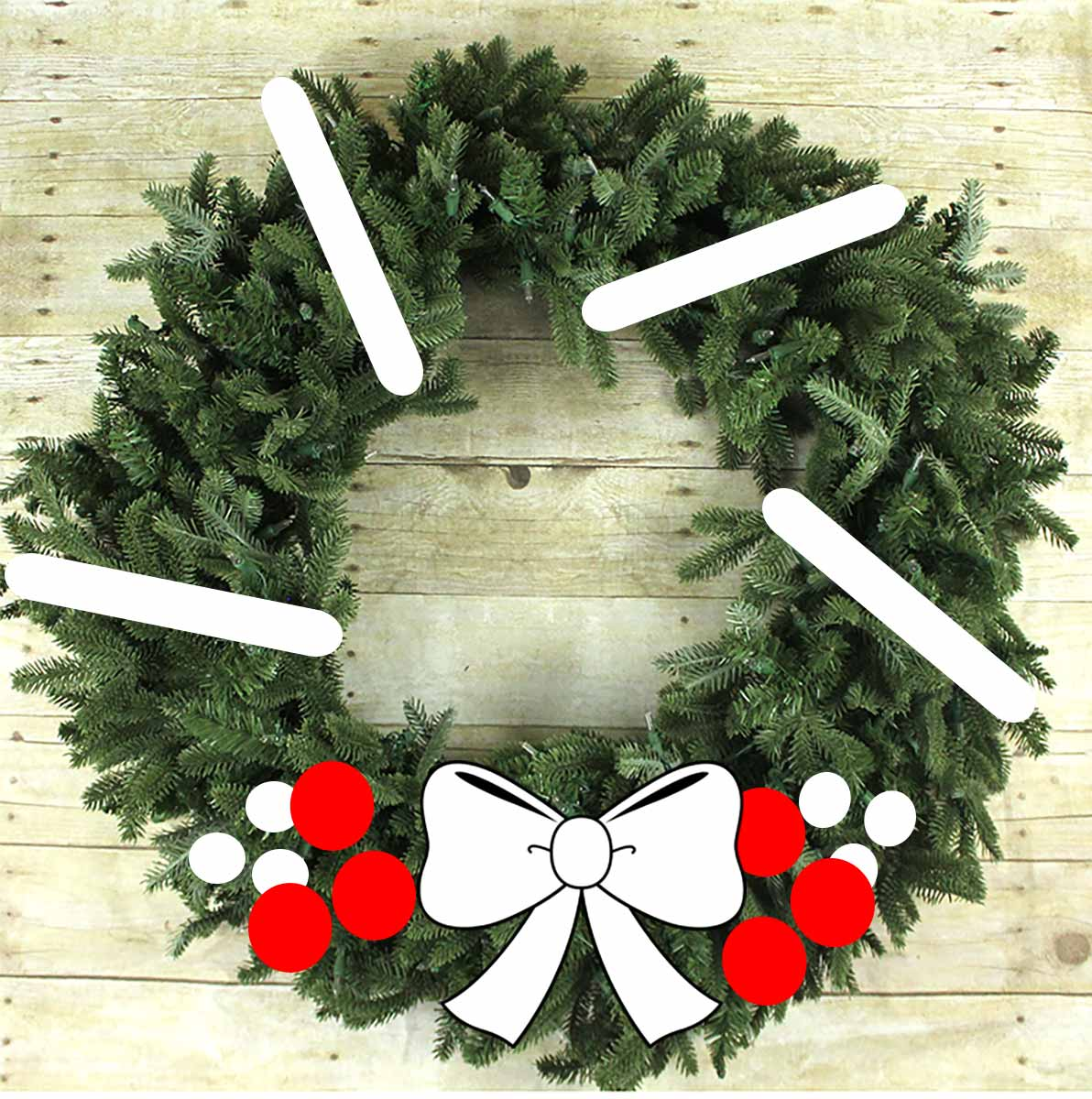 Wreath styling off center