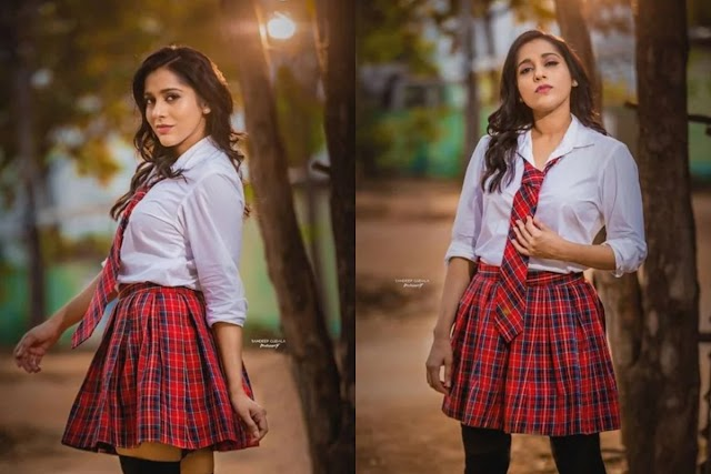TV anchor Rashmi Gautam as a teenage girl photoshoot in school dress