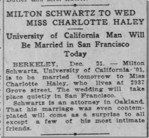 Milton Schwartz Charlotte Haley to wed 12_21_1907