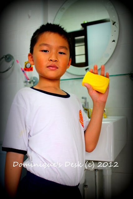 Monkey boy with soap