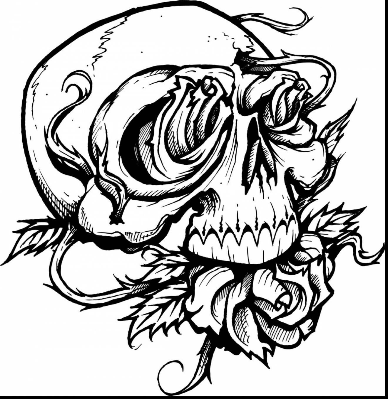 Incredible Skull Roses Tattoo Coloring Pages With And Beautiful