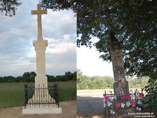 Porównanie figury przydrożnej przed (październik 2011) i po renowacji (czerwiec 2012)