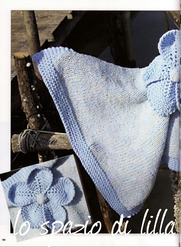 Lo spazio di lilla copertina per neonato ai ferri con fiore for Lo spazio di lilla copertine neonato