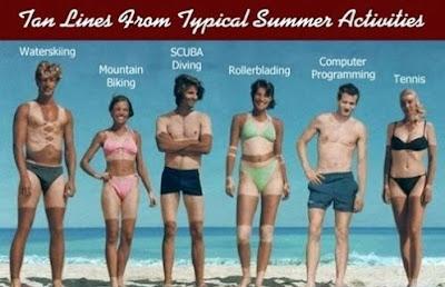 Marcas de bronzeado de várias actividades típicas de Verão