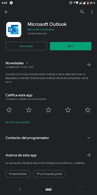 Aplicación de Android Microsoft Outlook