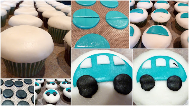 Collage Car Cupcakes with Homemade Marshmallow Fondant 8