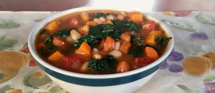 Kale, Roasted Vegetable, & White Bean Soup Recipe | Yummly