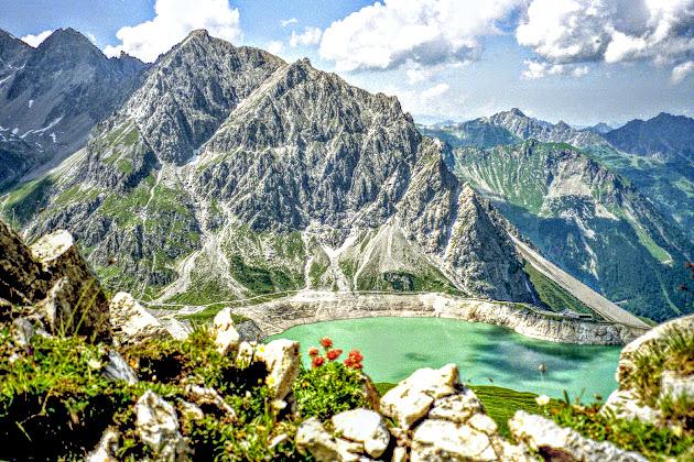 Lünersee Blick vom Gipfel Rossberg Rätikon Vorarlberg
