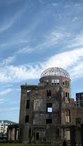 at 8:15am on August 6, 1945, my country split open the sky and poured hell 600 meters above the Hiroshima Prefectural Industrial Promotion Hall. Being the hypocenter, it didn't fall. I couldn't make eye contact with anyone to get my picture in front of it. Sorry mom. Sorry Japan.