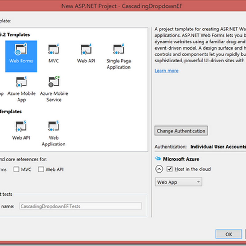Cascading dropdown with ASP NET Web Forms and Entity framework