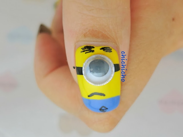 Minions with Googly Eyes Nail Art