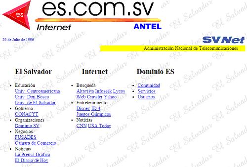 Historia del internet en El Salvador
