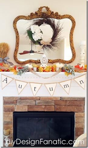 Autumn mantel, fall mantel, pumpkins, white pumpkins, farmhouse, cottage, fall banner, autumn banner