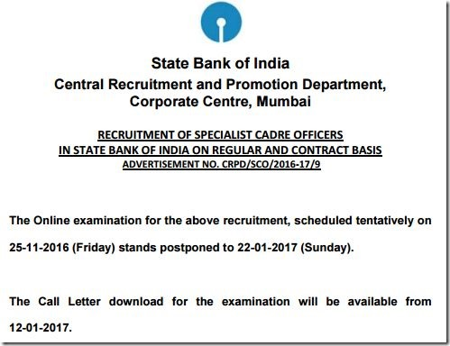 SBI Specialist Officers Exam Dates