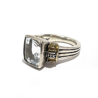 Sterling Silver & 18K Gold Clear Stone Ring