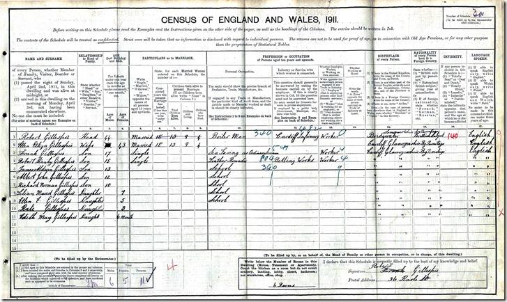 1911_GILLESPIE_Robert & Ellen & children_CardiffWales_enh