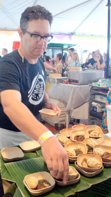 Brunch Village at Feast 2015 - Patrick Fleming of Boke Bowl prepared Spicy Black Bean Pork, Turnip Cake, Small Egg, Berry Bean Bao
