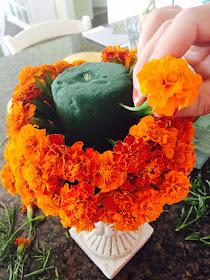 DIY, marigold pumpkin tutorial,  marigold pumpkin pomander,  marigold centerpiece