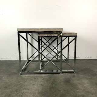 Chrome & Pickled Wood Nesting Table Pair #1