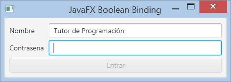 JavaFX deshabilitar botón usando enlace BooleanBinding