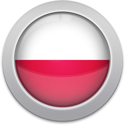 Polish flag icon with a silver frame
