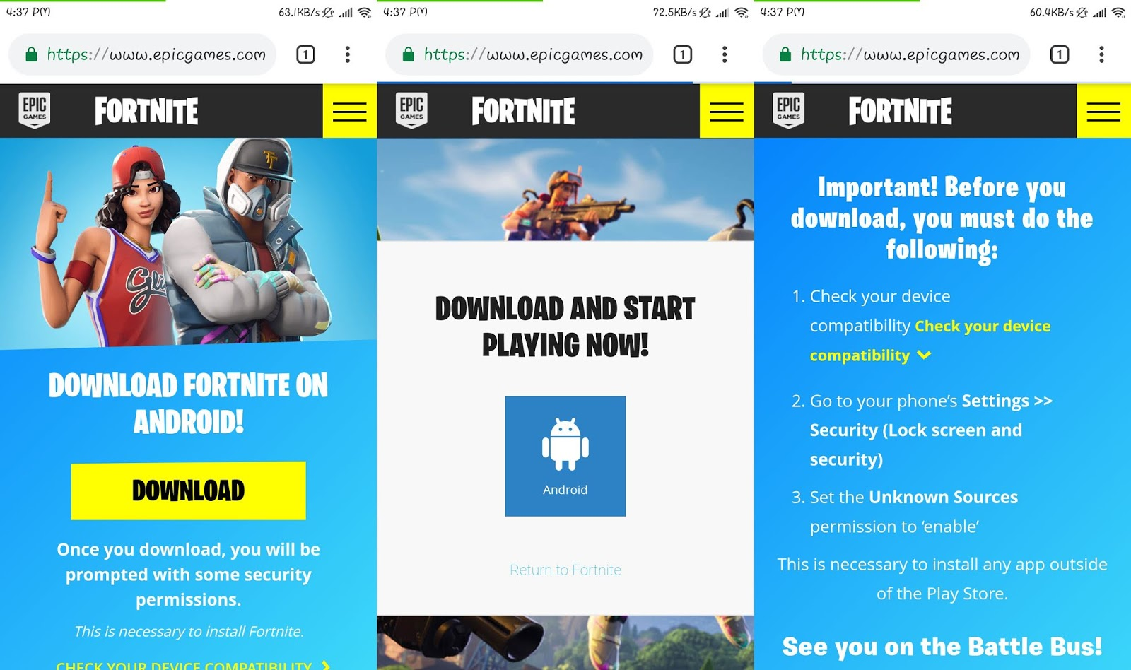 fortnite android sign up link