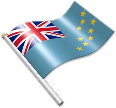 The Tuvaluan flag on a flagpole clipart image