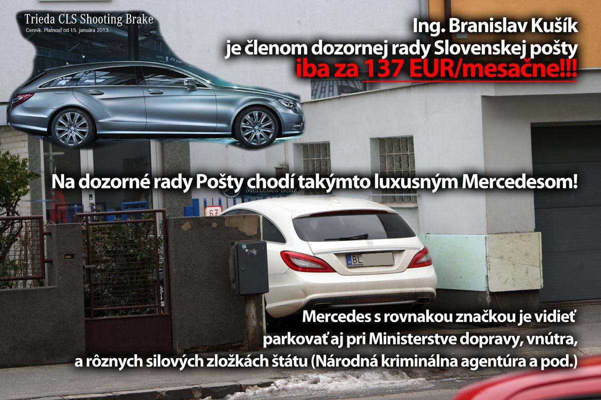 Branislav Kušík má odmenu 137 EUR, vozí sa Mercedesom