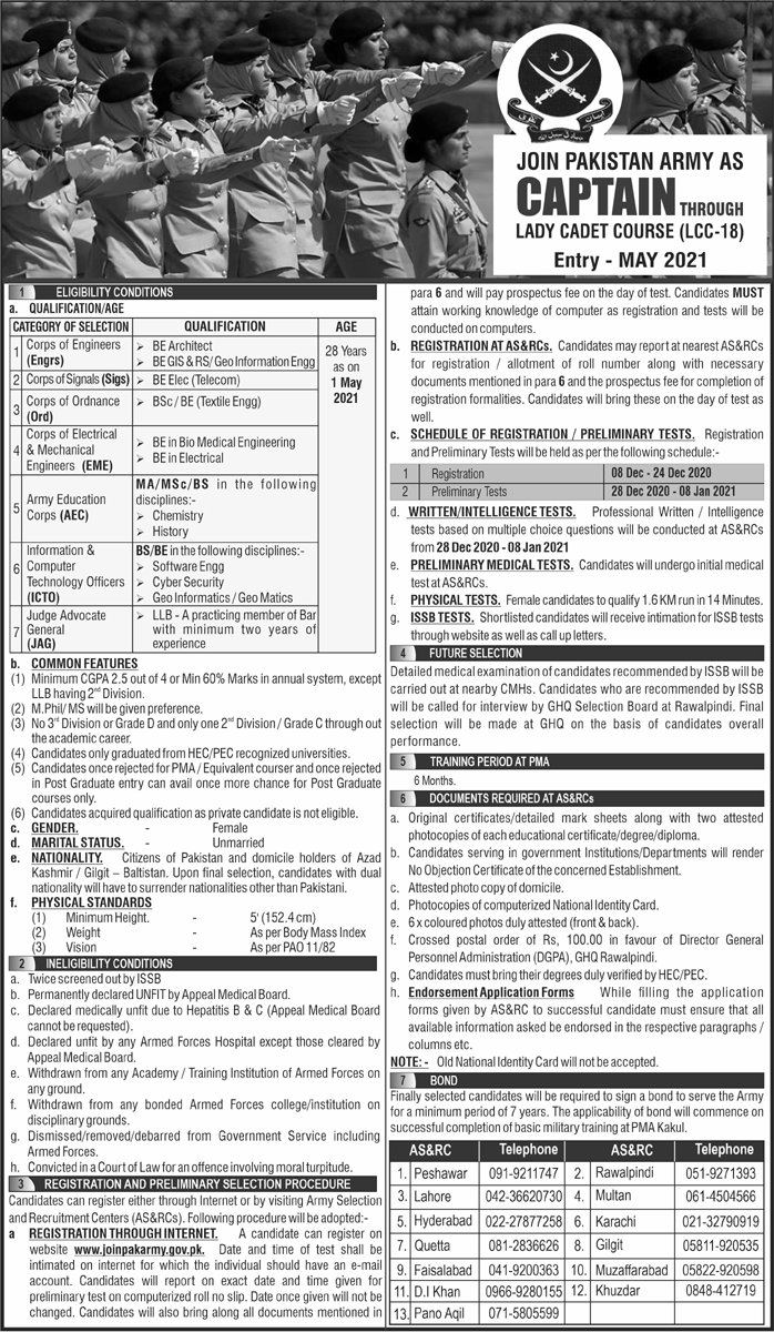 Pakistan Army as Captain Through Lady Cadet Course (LCC-18) Jobs December 2020