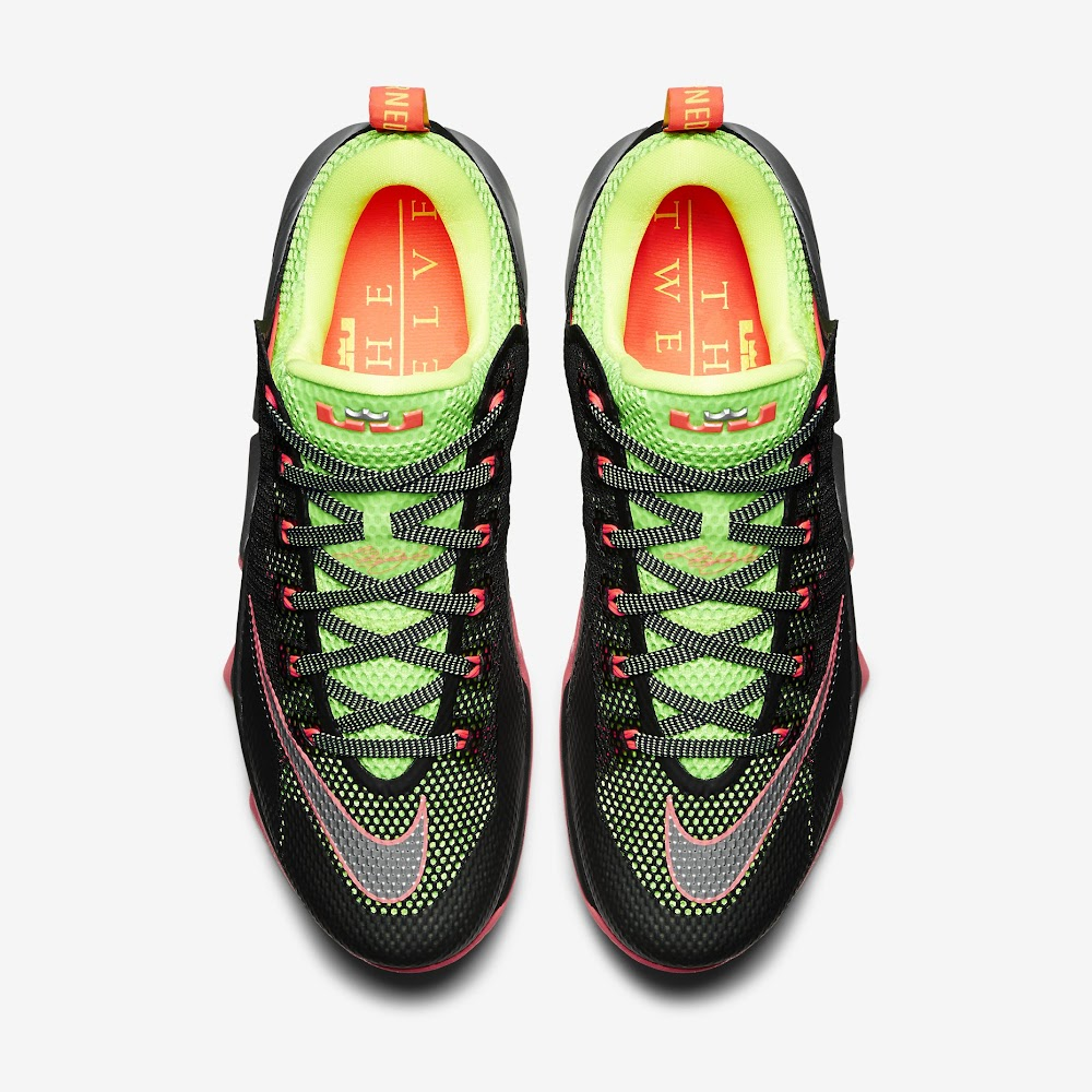wholesale dealer 691c0 8640a ... closeout lebron 12 low black silver volt hot lava official release date  edd82 459ce