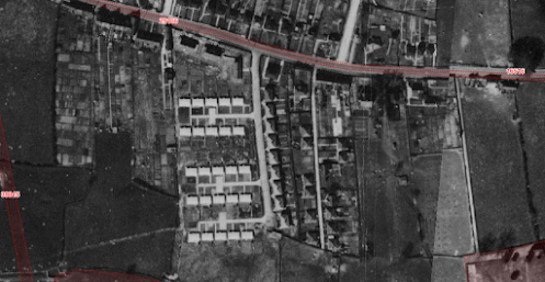 Aerial view of the Broad Close prefabs