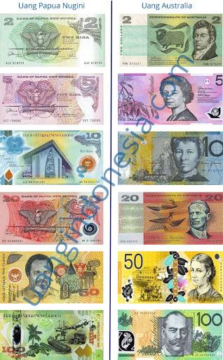 gambar mata uang negara Papua Nugini kina sama dengan uang dolar Australia