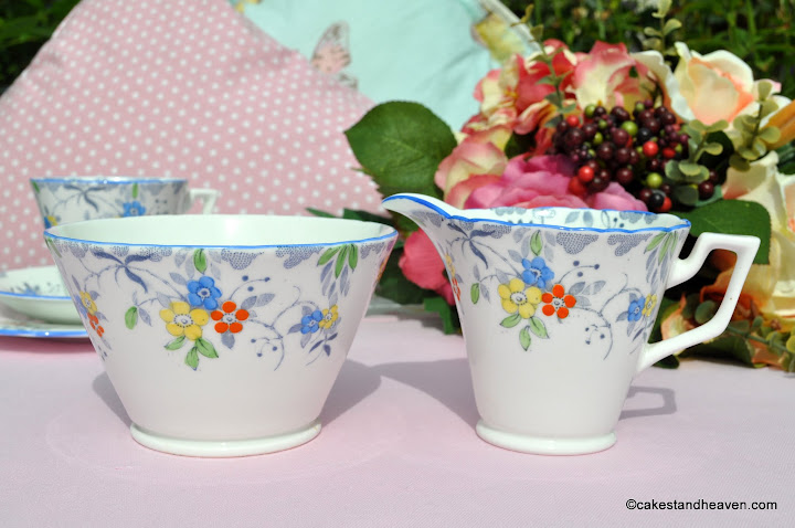 Sutherland Blue Rim Milk Jug & Sugar Bowl c.1936+