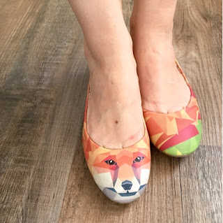 Schuhe, Ballerinas von DoGo mit Fuchs / Fox und geometrischem Muster