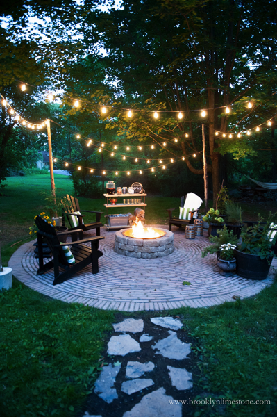 string lights over firepit
