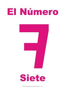 Lámina para imprimir el número siete en color magenta