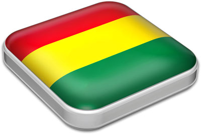 Flag of Bolivia with metallic square frame