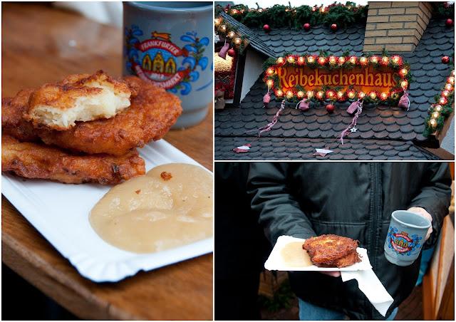 Frankfurt Christmas market, kartoffelpuffer, potato pancakes
