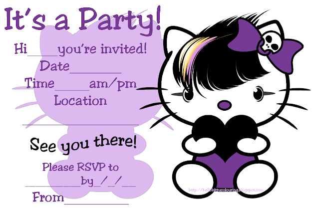 All These Free Printable Invitations Are Little Bit Quirky So Have  Grouped Them Together They Show Hello Kitty As Goth Emo