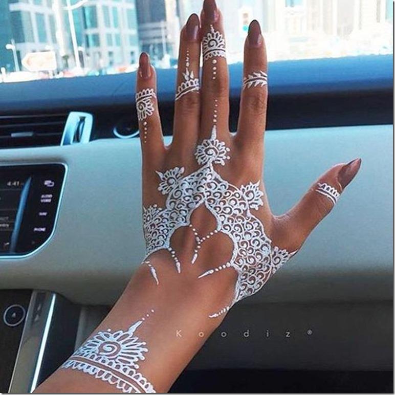 white henna art