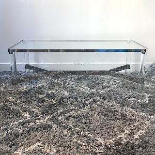 Chrome, Lucite & Glass Coffee Table