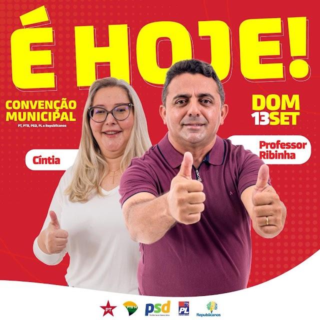 Convenção que homologará Professor Ribinha e Cíntia acontece neste domingo (13)