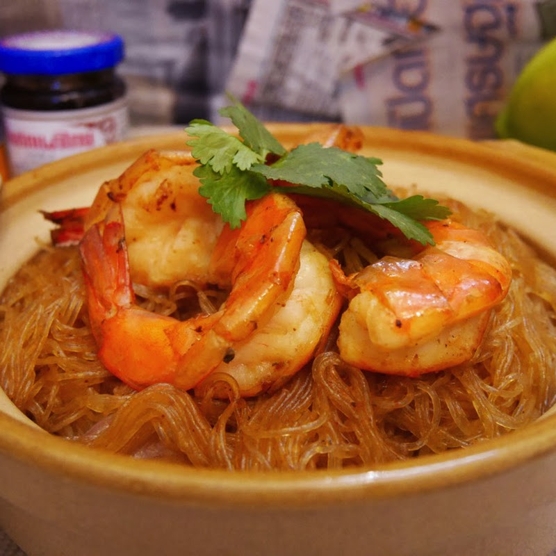 泰式海蝦粉絲煲 Thai Prawn and Vermicelli Pot 【老娘的草根飯堂】