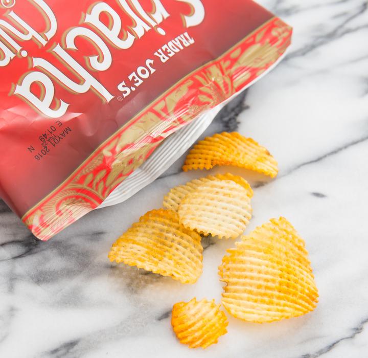 close-up phot of Sriracha Potato Chips