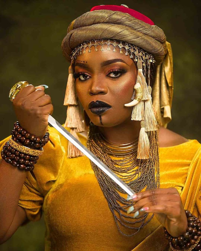 Actress Bisola Aiyeola celebrates 34th birthday in Queen Amina's costume