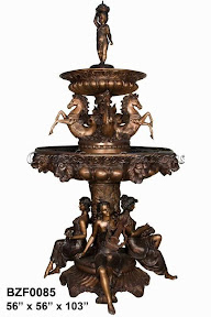 Bronze, Fountain, Horse, Sitting, Statue, Women